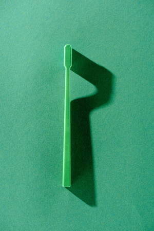 Green toothbrush with shadow on green isolated background.