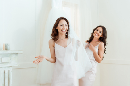 young women with wedding dress