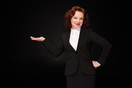 Businesswoman pretending to hold something