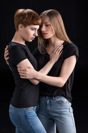 lesbian couple embracing Stock Photo - 95054334