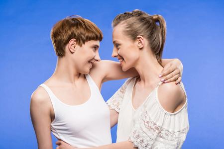 lesbian couple hugging Stock Photo - 95334963