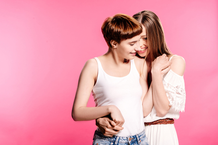 lesbian couple hugging Stock Photo - 95336123