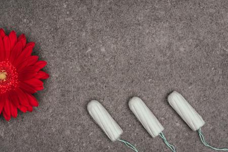 配置された月経タンポンと赤い花のトップビュー 写真素材