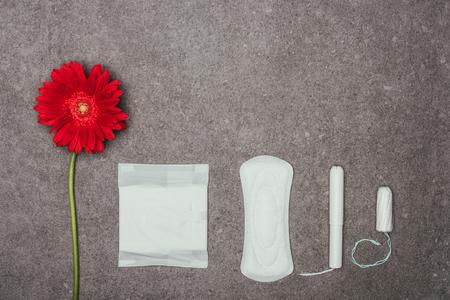 赤い花、月経パッドとタンポンの配置のトップビュー 写真素材