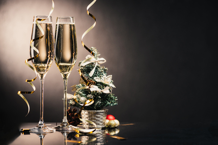 glasses of champagne and christmas decorations Stock Photo