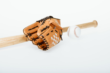 baseball bat, ball and mitt Stock Photo