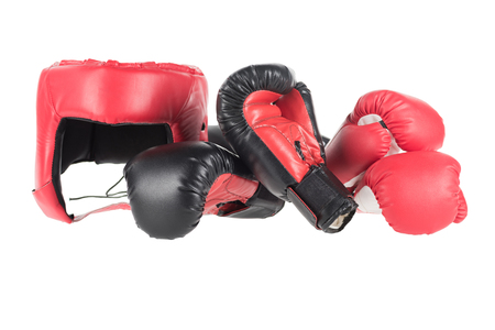 boxing gloves and headguard