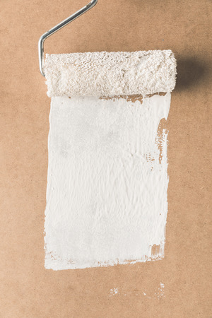 paint roll brush in white paint