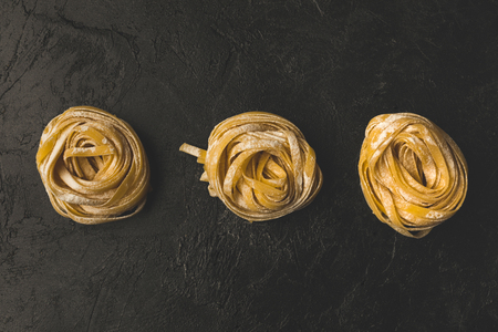 row of rolled pasta
