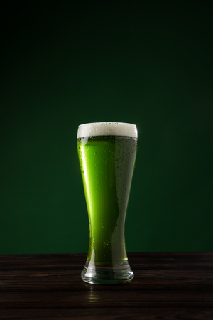 glass of green beer on table, st patricks day concept Stok Fotoğraf