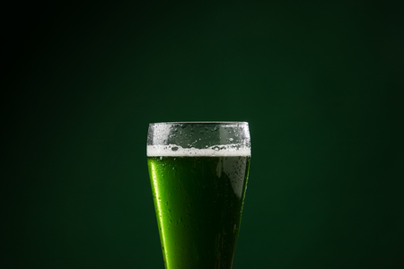 glass of green beer, st patricks day concept