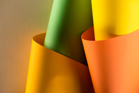 close-up shot of rolled colorful papers for background Banco de Imagens