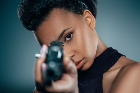 african american girl with rifle