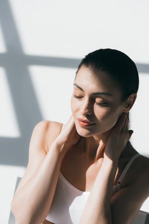 woman with wet slicked hair
