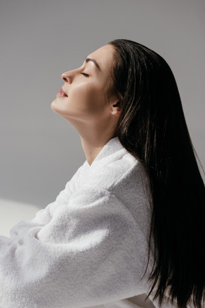 Young woman with dewy skin Stock Photo