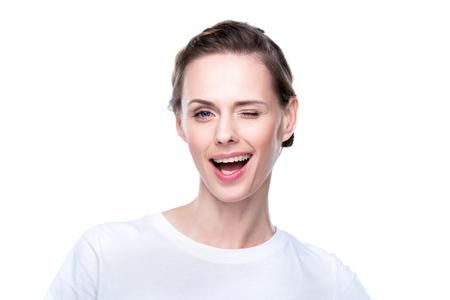 beautiful winking woman 版權商用圖片