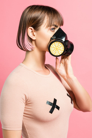 Fashionable woman with respirator