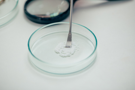 powder in petri dish