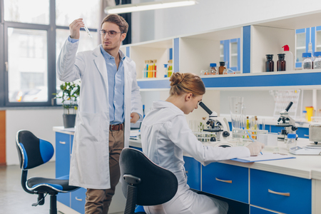 biologists working in lab