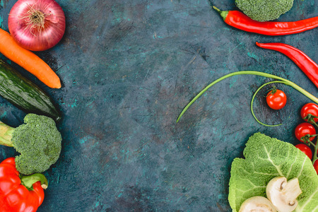 top view of fresh healthy vegetables on black Stock Photo