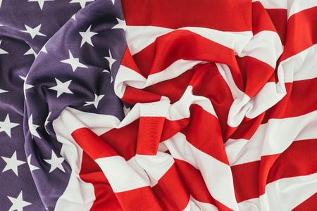 full frame of folded american flag, presidents day celebration concept