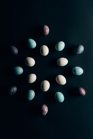 flat lay of colored painted easter eggs