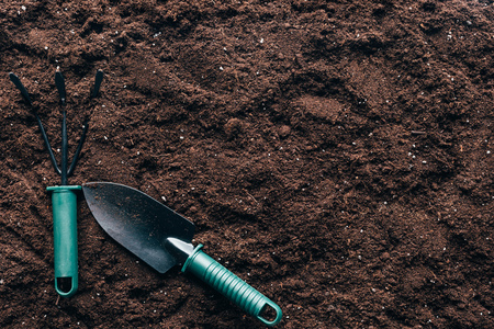 small gardening tools on soil with copy space