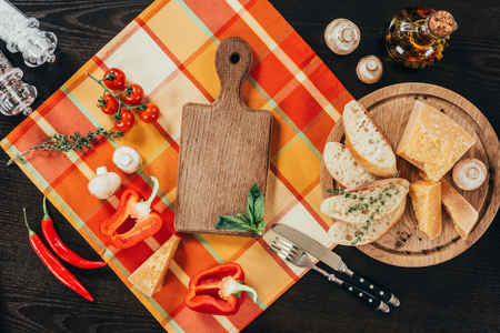 top view of uncooked vegetables and parmesan cheese on table Standard-Bild