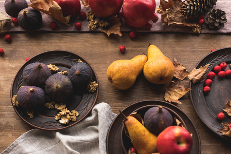 top view of ripe fresh autumn fruits on table Stock Photo