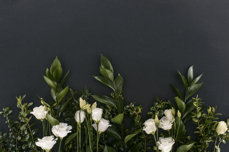 top view of eustoma flowers and branches over black background 스톡 콘텐츠