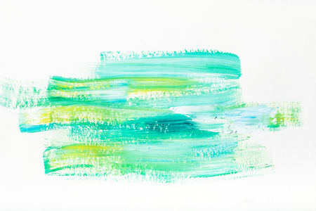abstract painting with turquoise and yellow brush strokes on white
