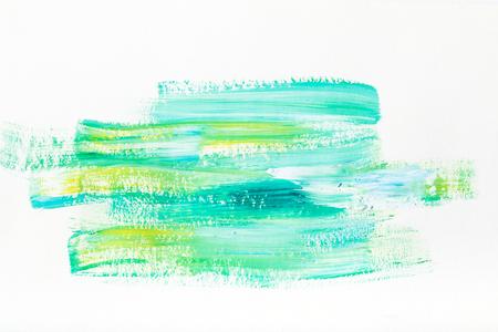 peinture abstraite avec des coups de pinceau turquoise et jaune sur blanc Banque d'images