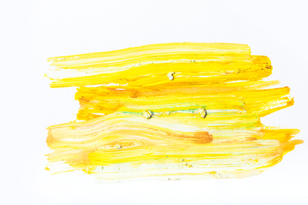abstract painting with bright yellow strokes on white