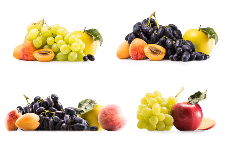 collage with fresh grapes, apples, apricots and peach isolated on white