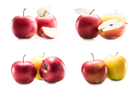 collage with various fresh and ripe apples isolated on white