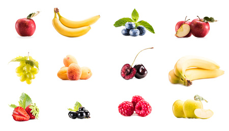 collage with variety of fresh fruits and berries isolated on white Zdjęcie Seryjne