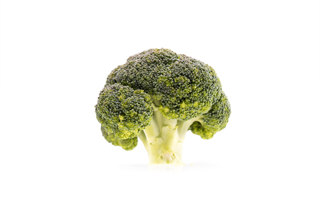 healthy ripe broccoli branch isolated on white