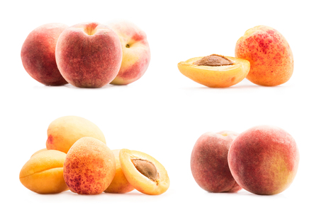 collage with fresh ripe peaches and apricots isolated on white Stock Photo