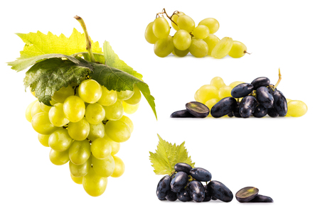 close up view of collage with various ripe grapes isolated on white Stock Photo