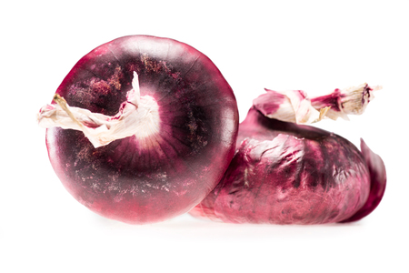 two fresh ripe red onions isolated on white