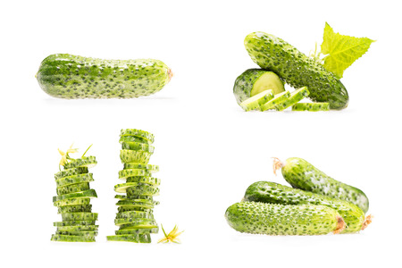 collage of various stacks and piles of cucumbers isolated on white