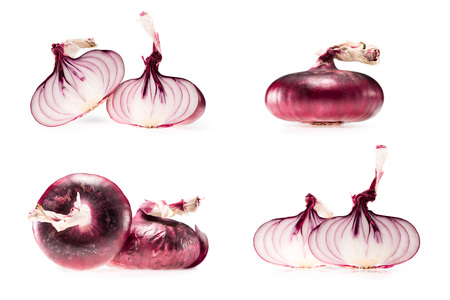 collage of fresh ripe onion and halves isolated on white