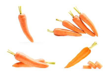 collage of various compositions with ripe carrots isolated on white 스톡 콘텐츠