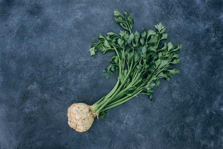top view of fresh celery with root on black Stockfoto