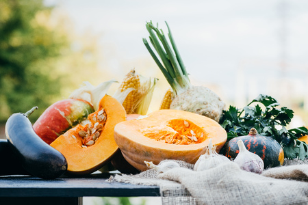 close-up view of ripe seasonal vegetables on table