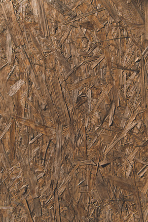 close-up view of brown wooden chipboard texture Stock Photo