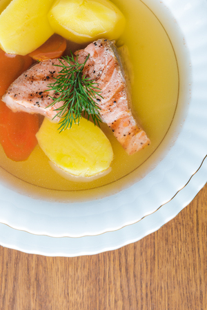 top view of delicious healthy salmon soup