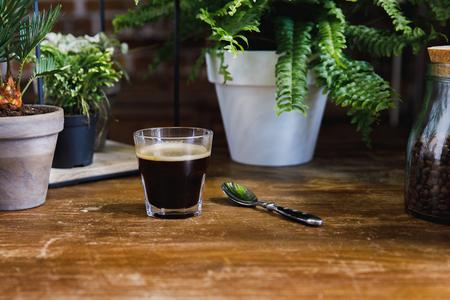 コーヒーショップの植物とテーブルの上のガラスの朝のブラックコーヒー 写真素材