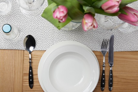 Dinnerware with plates Stock Photo