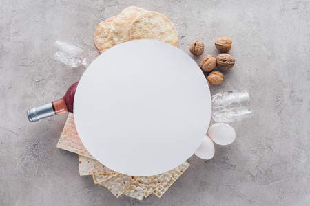 top view of plate on matza and wine, jewish Passover holiday concept